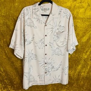 Tommy Bahama Cream Tropical 100% Silk Size Large